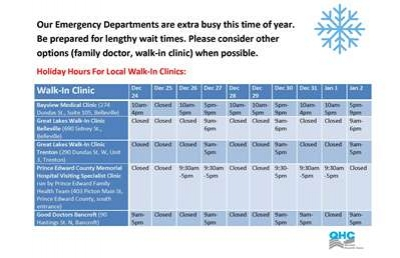 Holiday Hours for local walk-in clinics