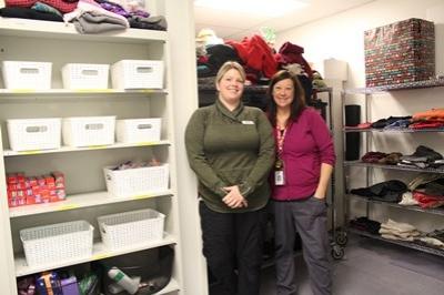 Katie Petherick and Colleen Potts in the comfort closet