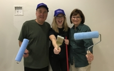 Getting ready to paint! From left: Paul Reesor, Volunteer; Rebecca Spencer, Recreation Therapist; and Paulette Jamieson, Volunteer. Picture was taken before the pandemic -  no masks required.